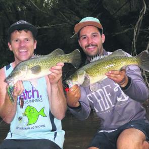 Simon Tate and Jessie Vella got a double hook-up with a Catch Custom spinnerbait and a surface lure.
