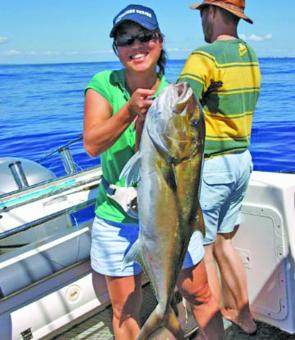 Julie Furness with a 12kg amberjack that gave her a run for her money.