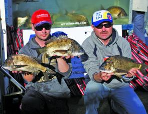 Team Damiiki Pontoon 21's Paul Malov and Alex Franchuk display some of the quality bream that secured them the victory