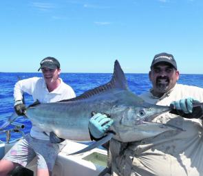 Cael O'Leary with a 45kg black marlin, which was one of five caught for the day.