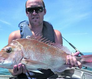 Matty Witherden with a typical Port Phillip Bay snapper taken off Carrum.