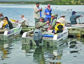 Anglers prepare for a lake session at the World championship