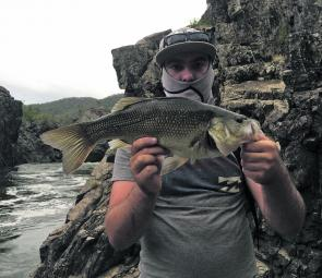 Kaleum Gannon with a healthy gorge country bass on a Bills Bugs' Rat 50.
