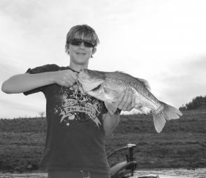 Will Taylor, son of former test cricket captain Mark Taylor, with a 53cm St Clair bass caught on a 1/2oz Secret Creek spinnerbait.
