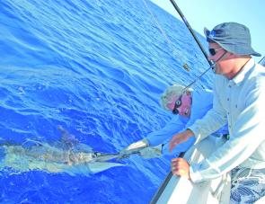 Grant Thompson with a striped marlin. There can be surprisingly good marlin fishing in June if the seas stay calm and the water warm.