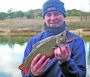 Scott Munro caught this handsome brook trout from the shore near the Discovery Holiday Park, Jindabyne. A 'Jindabyne Grand Slam' would be a brown, a rainbow, a brookie and an Atlantic salmon all in one day – no mean feat.