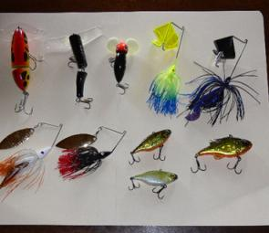 Fun lures from the surface to the bottom: From left, top Kingfisher Mantis, Taylor Made Surface Breaker, Halco Nightwalker, Murray River Buzzbaits; bottom Murray River Spinnerbait, Jackall TN70 and Jackall Doozer.