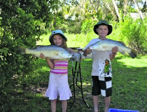 Olivia and Harry Mclean with a couple of great fish off the beach. Poor dad did not do as well.