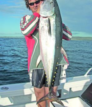 Matthew Anderson with a Clarence coast longtail tuna – there's still hope of a few around this month.