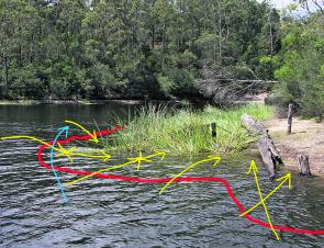 The strike zone lies between the red line and the shoreline. Once you are within casting range, make the blue arrow your first presentation. To work the entire area effectively, present your offerings as directed by the yellow arrows, and pause your lure