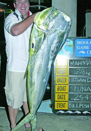 A 28kg mahi mahi caught by Nathan Douglass in the MGFC Billfish Bonanza (photo courtesy of Kellie Jensen).