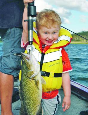 Blake Ehrlich caught his first cod at Cooby Dam. It ate his favourite lure, a brown dog Jackall.