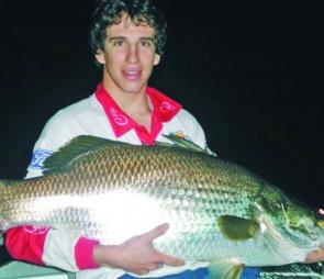 This 116cm Kinchant barra was taken in the darkness of night when there was no moon.