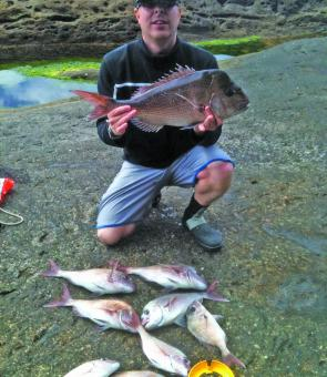 John Halford scored these great snapper from 37cm to 61cm fishing the washes.