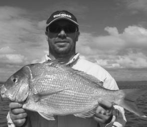 Matt Hall was fishing with a gold Mask Vibe when he caught this 3kg+, 65cm snapper from the mouth of the Brisbane River.