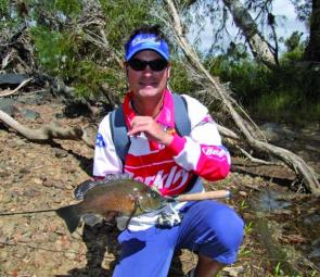 Ashley with a sooty from Kellbottom Creek; these fish are great targets in the various fresh waterways at the cape.