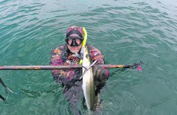 The author with a speared snook.