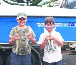 Mitchell and James Cauchi with a couple of their whiting.