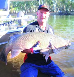Ron Nott with a 116cm cod caught in the Murray River on an Outlaw Spinnerbait.