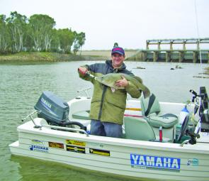 Doug McQueen with his personal best Murray cod of 78cm taken below the Yarrawonga Weir before the season closed.