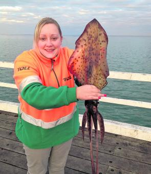 Lisa touched up her brother Peter 3-1 while squid fishing from Queenscliff Pier.