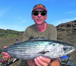 The author with a bonito spun up from the rocks at Catherine Hill Bay. There should still be a few around this month.