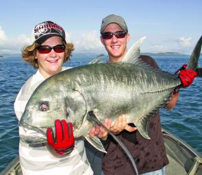 One of the toughest customers in Whitsundays waters – a solid GT that couldn't resist a large surface popper.