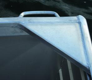 The solid corner bracing can be used to fit through gunwale rod holders.