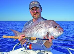 Chris Blanch with a lovely snapper caught in close off Lake Cathie. Tehre should still be good action on reds this month.