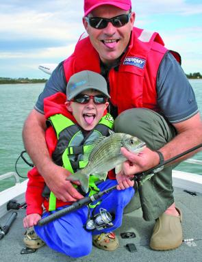 The author with his son, Sam, share some fun with bream.