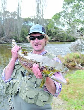 Rob Rintoul with a magnificent 6.3kg buck brown trout taken from the Thredbo River last June.