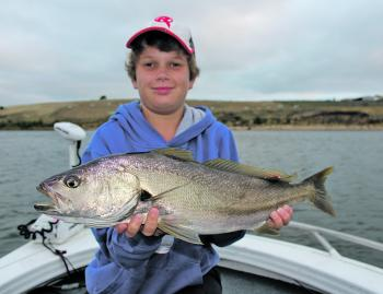 Luke Gercovich with a Hopkins River mulloway.