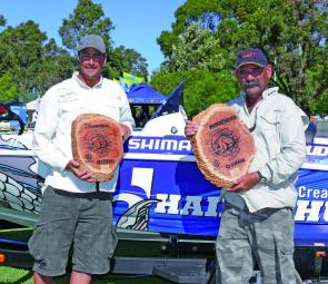 Team Stiffy Lures' Chris Wright and Kaj Busch display their Champions trophies after taking a well-earned victory.