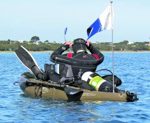 Diving from a kayak requires good organizational skills – always remember to have the 'diver below' flag as prominent as possible.