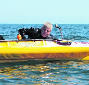 There are many ways of successfully getting back into a kayak, here Pete demonstrates the side access approach.