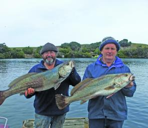 Ian Jenkins with a 9kg mulloway and Alan Unwin with an 8kg version. Both fish were caught on live mullet trolled in the estuary of the Glenelg River at Nelson.