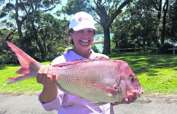 John Portelli's daughter with a 5kg snapper caught at Ulladulla.