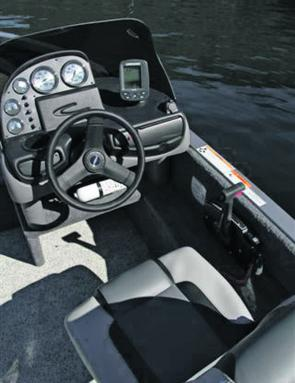 The helm is well laid out although some might prefer more sophisticated than the standard mono fish finder.