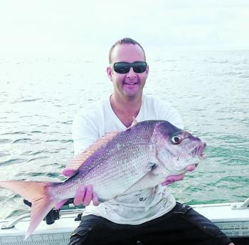 Peter Clark with an awesome snapper. There are heaps of snapper and pearlies around the reefs at the moment.