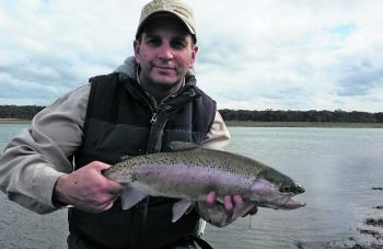 Shane Stevens' magnificent Tullaroop rainbow trout caught on a mud eye.