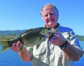 Dave Mclean with a healthy 40cm-plus bass that took one of the new compact Mumblers.