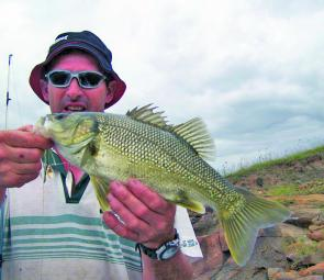 Wayne McGrath of Oberon with a healthy St Clair bass caught on a grasshopper pattern spinnerbait.