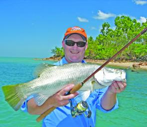 Headland barra south of Weipa are great fun. This one ate a Gulp Jerkshad worked around the boulders.