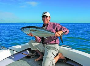 The author with a fat Moreton Bay longtail tuna taken on fly.