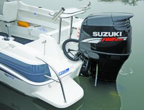 The rear transom step allows easy access back into the boat when swimming.