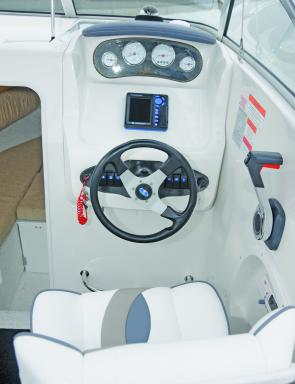 The helm offers plenty of room for all the necessary electronic gear as well as a very user-friendly place to drive the boat from.