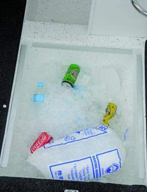 The under-floor cooler has plenty of room for drinks and lunch!
