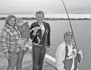 Port Albert Pier is a great family fishing destination, as the Mackenzie family can attest after catching these mullet.