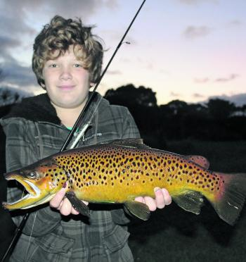 Luke Gercovich with a quality local brown. Some more rain will help the local trout fishery improve even more come July.