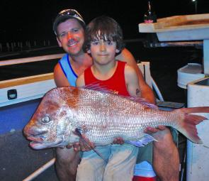 Brad and Riley McDonald are not likely to forget this 9kg Western Port red!